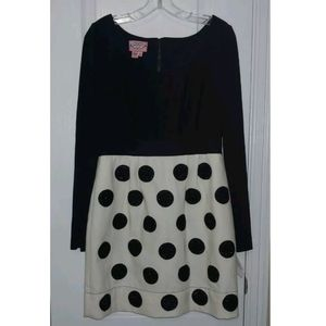 8 NWT Phoebe Couture Black Dot Party Dress
